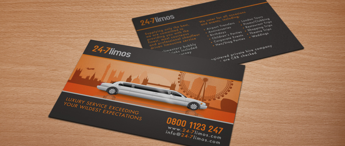 24-7 Limos - Limo Business Card Design - Before & After
