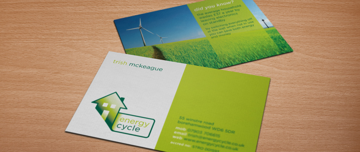 Energy cycle energy assessor logo business card design freelance graphic designer energy cycle landscape business card reheart Image collections