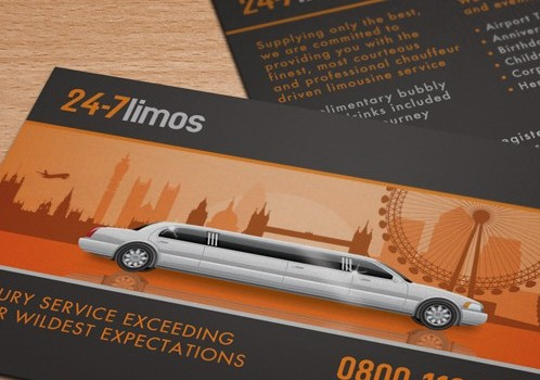 24-7 Limos – Limo Business Card Design – Before & After